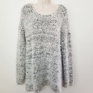 Joan Vass Fuzzy Soft Gray Popcorn Sweater